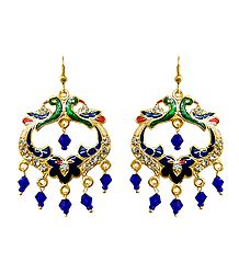 Meenakari Peacock Metal Hoop Earrings