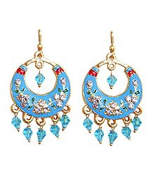 Blue with Golden Meenakari Metal Hoop Earrings