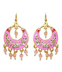 Pink with Golden Meenakari Metal Hoop Earrings