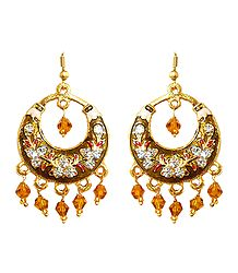 Dark Brown with Golden Meenakari Metal Hoop Earrings