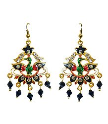 Golden with Black Meenakari Peacock Metal Earrings