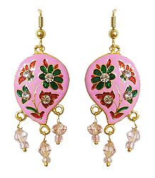 Pink Meenakari Paisley Design Dangle Metal Earrings