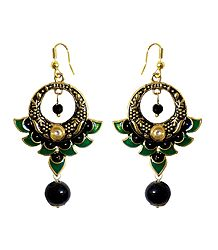 Black, Green and Golden Meenakari Metal Hoop Earrings