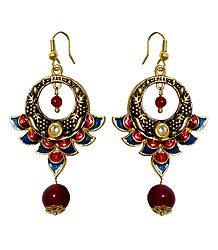 Meenakari Metal Hoop Earrings