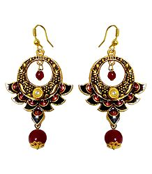 Multicolor Meenakari Metal Hoop Earrings