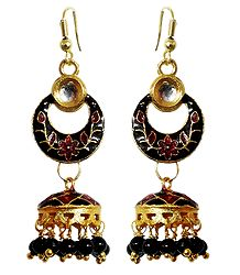 Meenakari Metal Hoop with Jhumka  Earrings
