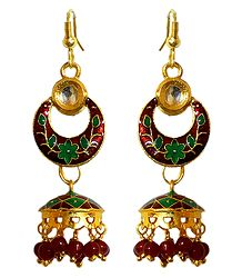 Red with Green Meenakari Metal Hoop with Jhumka Earrings