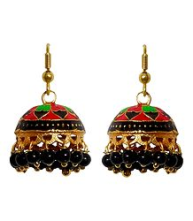 Red, Green, Black Meenakari Metal Jhumka Earrings