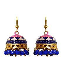 Blue, Pink, Gloden Meenakari Metal Jumka  Earrings