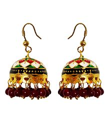 Multicolor Meenakari Metal Jumka  Earrings
