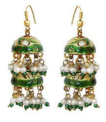Green Meenakari Chandelier Lac Earrings
