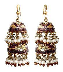 Shop Online Maroon Meenakari Chandelier Lac Earrings