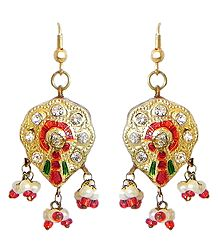 Golden with Red Meenakari Earrings