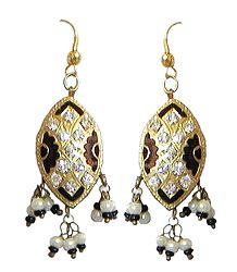 Black with Golden Meenakari Earrings