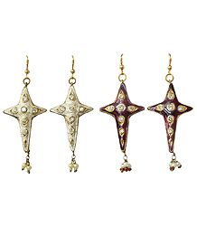 Set of 2 White and Dark Purple Dangle Meenakari Earrings