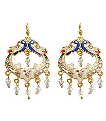 White Stone Studded Metal Meenakari Peacock Earrings