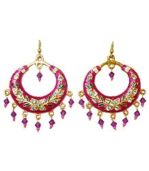 Metal Red Meenakari Hoop Earrings