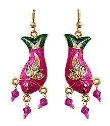Stone Studded Meenakari Metal Fish Earrings