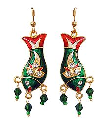 Stone Studded Meenakari Metal Fish Earrings