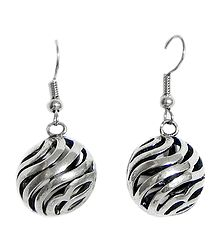 Steel Carved Ball Earrings
