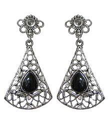 Metal Net Post Earrings with Faux Black Onyx Stone