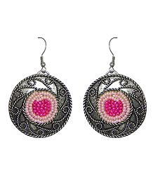 Beaded Oxidised Metal Disc Earrings