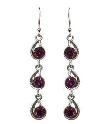 Purple Stone Studded Fashion Earrings