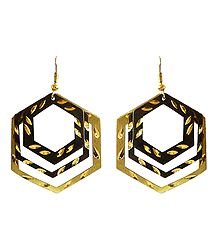 3 Layered Brown with Golden Hexagonal Hoop Earrings