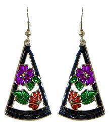 Traingle Metal Earrings with Multicolor Laquered Flowers