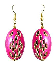 Oval Shaped Magenta Metal Earrings