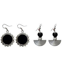 Set of 2 Pairs Oxidised Metal Dangle Earrings