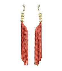 Rust Color Chain jhalar Earrings