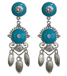 Metal Dangle Earrings with Blue Stone