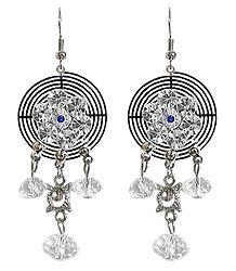 Stone Studded Metal Earrings