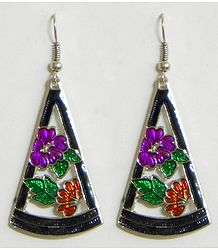 Traingle Metal Earrings with Colorful Laquered Flowers