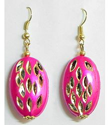 Oval Shaped Magenta Earrings