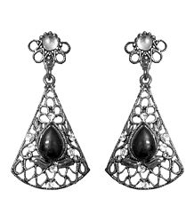 Oxidised Metal Dangle Earrings with Faux Black Onyx Stone