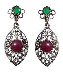 Oxidised Metal  Earrings with Net Design