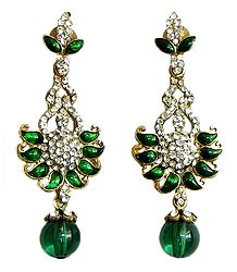White Stone Studded Post Earrings with Green Laquered Paisley Design
