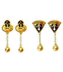 Set of 2 Pairs Gold Plated Metal Earrings