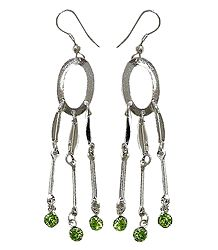 Green Stone Studded Metal Earrings