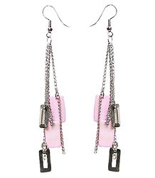Pink Acrylic with Metal Earrings