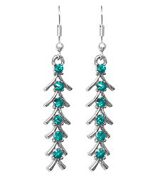 Cyan Blue Stone Studded Fishbone Earrings