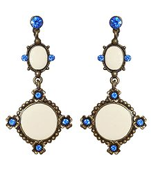 Blue Stone Studded Metal Dangle Earrings