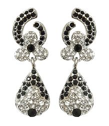 Pair of Black and White Stone Studded Dangle Earrings
