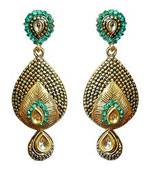 Faux Emerald Dangle Earrings