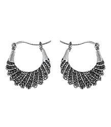 Oxidised Metal Hoop Earrings