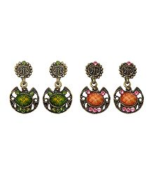 2 Pairs of Stone Studded Oxidised Metal Dangle Earrings