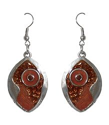 Brown Laquered Dangle Metal Earrings