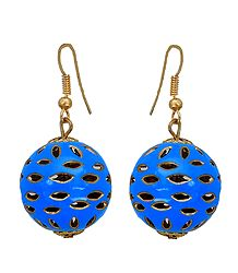 Metal Blue Ball Dangle Earrings